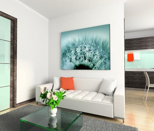 120x80cm Wandbild Pusteblume Löwenzahn Wassertropfen Nahaufnahme