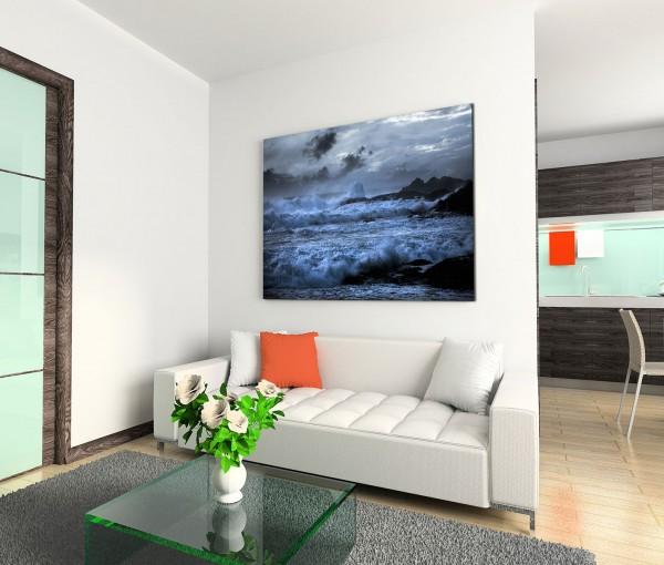 120x80cm Wandbild Ozean Wellen Felsen Wolken