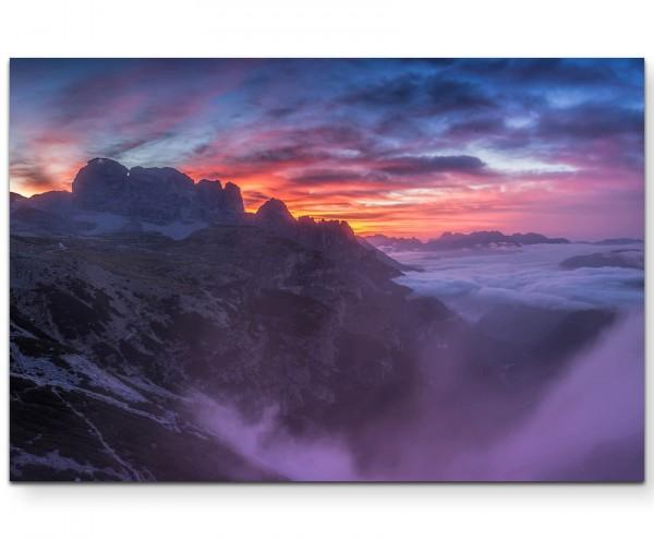 Sonnenaufgang in den Dolomiten - Leinwandbild