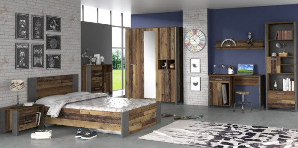 Jugendzimmer Clif in Dunkelgrau und Old- Wood Vintage 7 teiligés Komplettset mit Schrank, 140er Bett