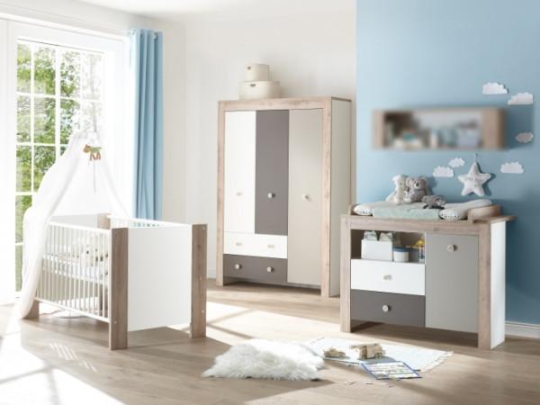Babyzimmer Bea in Weiß matt mit Eiche Sanremo hell, Taupe und Lava matt von Mäusbacher 5 teiliges Me