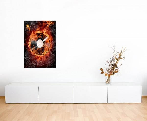 120x80cm Schallplatte Feuer Rauch Musik