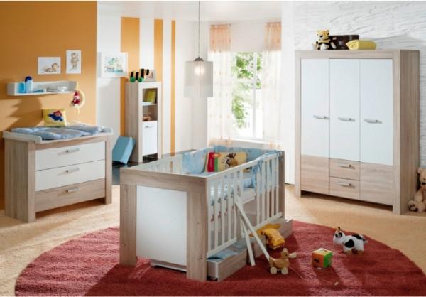 Babyzimmer Ben 6-teilig Eiche Sägerau-Weiß