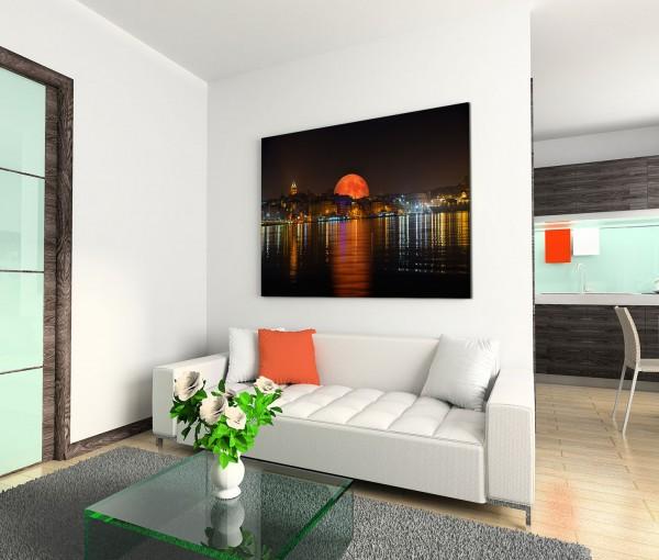 120x80cm Wandbild Istanbul Bosporus Nacht Lichter Mont Spiegelung
