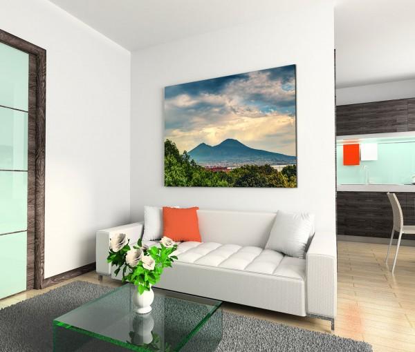 120x80cm Wandbild Vesuv Vulkan Neapel Bäume Wolkenhimmel