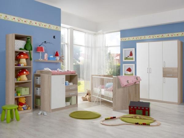 Babyzimmer Nicki in Eiche Sägerau und Weiß von Wimex 6 teiliges Sparset mit 4 türigem Schrank, Bett