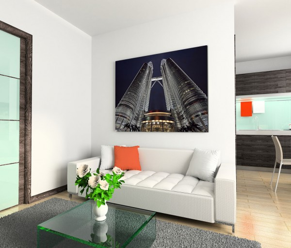 120x80cm Wandbild Kuala Lumpur Petronas Towers Nacht
