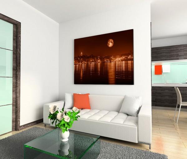 120x80cm Wandbild Istanbul Bosporus Galataturm und -brücke Nacht Mond