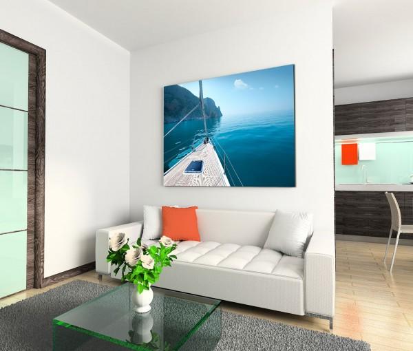 120x80cm Wandbild Meer Ufer Felsen Yacht
