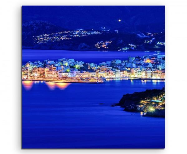 Landschaftsfotografie – Agios Nikolaos bei Nacht, Kreta, Griechenland auf Leinwand