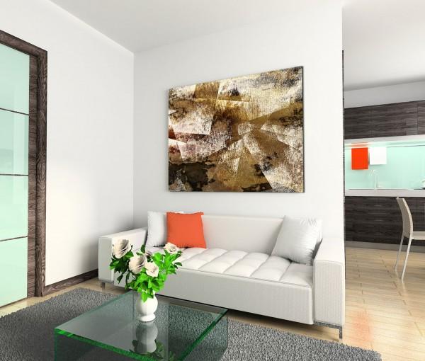 120x80cm Wandbild Wasserfarben Malerei abstrakt beige braun schwarz