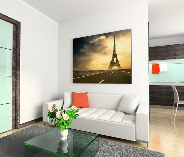 120x80cm Wandbild Eiffelturm Straße Wolken Dämmerung