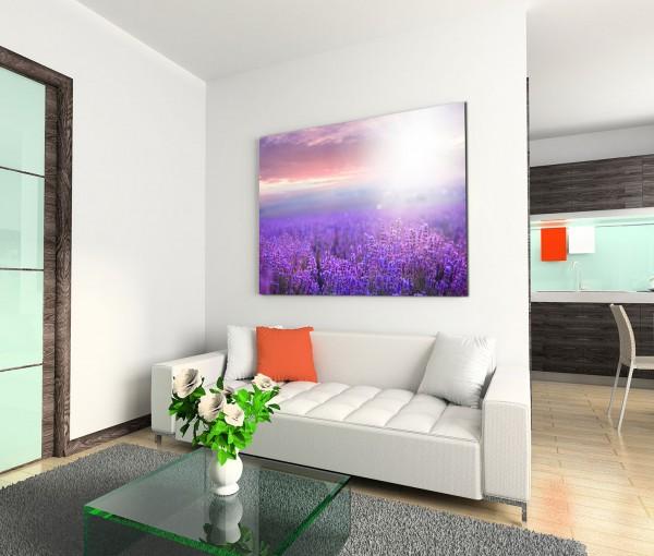 120x80cm Wandbild Lavendel Feld Sonnenuntergang Sommer