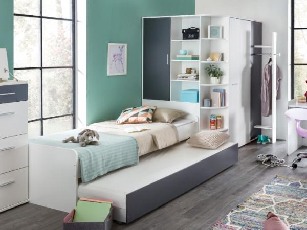 JugendzimmerJoker in Weiß und Graphit 3 teilig mit begehbaren Eckkleiderschrank inklusive Garderobe,