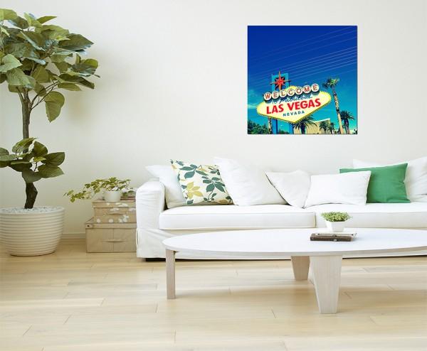 80x80cm Schild Las Vegas Palmen Himmel
