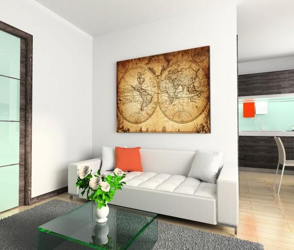 120x80cm Wandbild Vintage Weltkarte von 1733