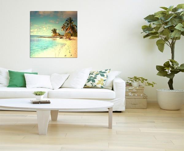 80x80cm Malediven Strand Palmen Meer Sand
