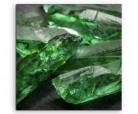 Künstlerische Fotografie – Grüne Smaragd Kristalle auf Leinwand exklusives Wandbild moderne Fotograf