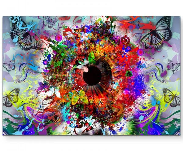 Abstraktes Auge mit Schmetterlingen - Leinwandbild