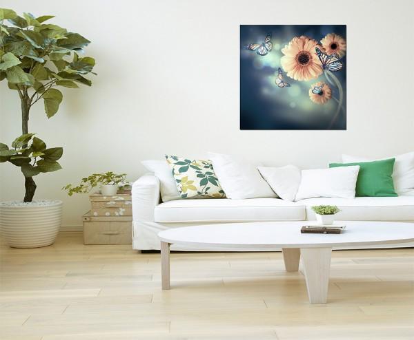 80x80cm Gerbera Blumen Blüten Schmetterlinge
