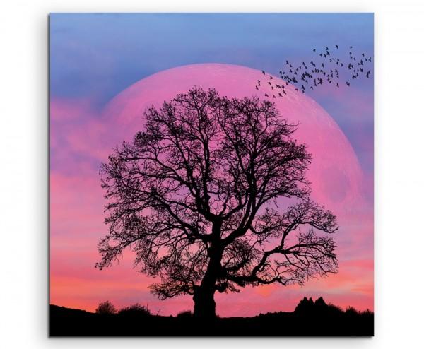 Collage – Baum Silhouette vor Supermond auf Leinwand exklusives Wandbild moderne Fotografie für ihre
