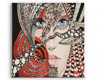Portrait einer Frau mit Ornamenten in Schwarz, Weiß und Rot auf Leinwand