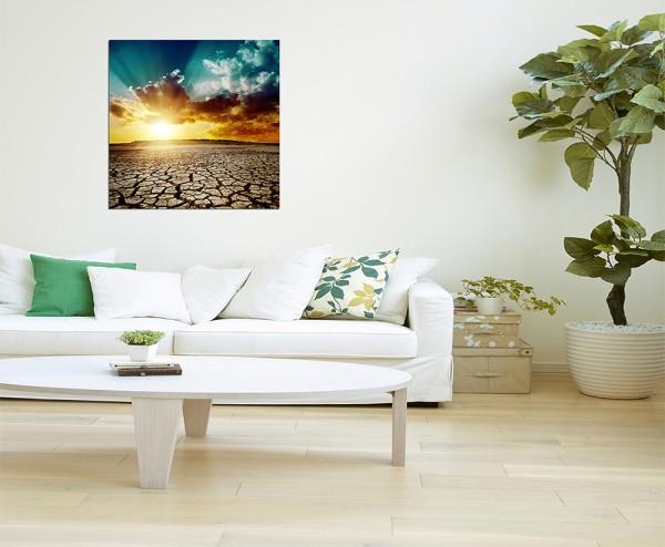 80x80cm Wüstenlandschaft Sonnenuntergang trocken