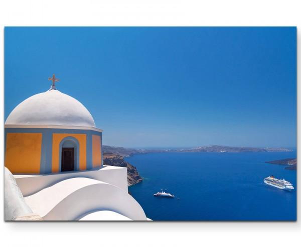 Fotografie – Kirche auf Santorini - Leinwandbild