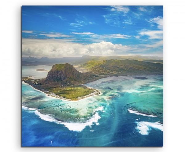 Landschaftsfotografie – Inselgruppe, Le Morne Brabant auf Leinwand exklusives Wandbild moderne Foto