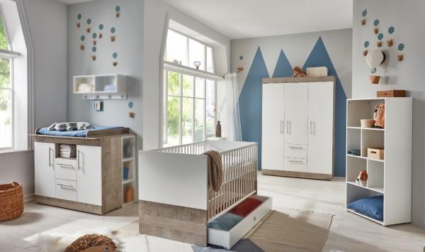 Babyzimmer Selina 5 teilig in Platinum Oak und Weiß komplett von Arthur Berndt mit Kleiderschrank, Babybett, Wickelkommode, Umbauseiten und Regal
