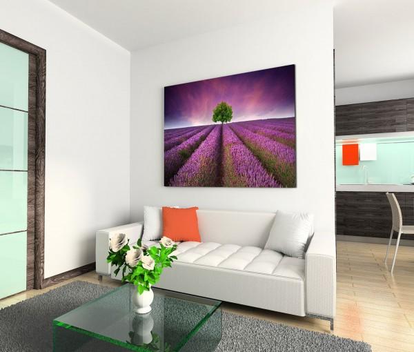 120x80cm Wandbild Lavendelfeld Baum Sommer