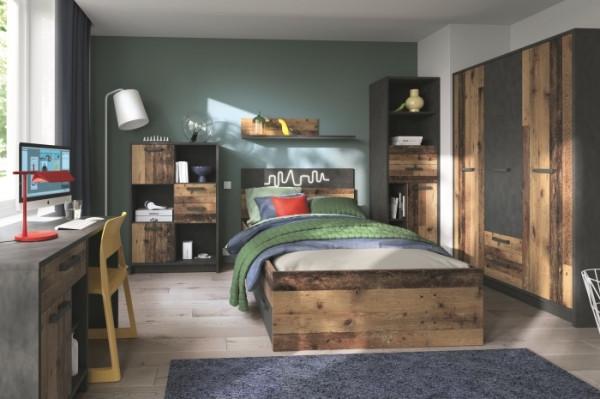 Jugendzimmer Nubi in dunklem Beton und Recyclingholzoptik 8 teiliges Megaset mit Kleiderschrank, Bet