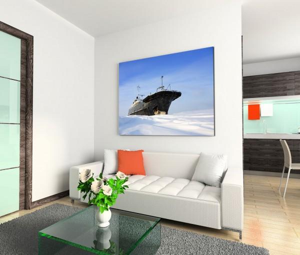 120x80cm Wandbild Schnee Eis Schiff Himmel