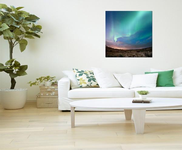 80x80cm Nordlicht Island Landschaft Sterne