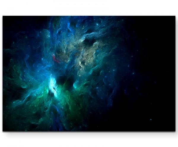 abstraktes Bild – Universum in Blautönen - Leinwandbild
