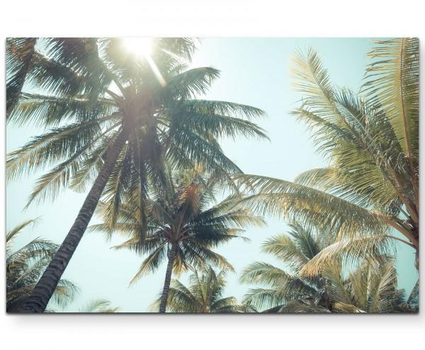 Palmen am Strand – Vintagefotografie - Leinwandbild