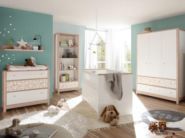 Babyzimmer Jonas in Weiß- Edelbuche mit Aufdruck 7 teiliges Megaset mit Schrank, Bett mit Lattenrost