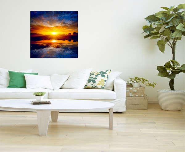 80x80cm Sonnenuntergang See
