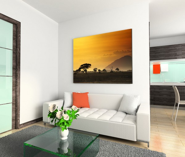 120x80cm Wandbild Afrika Kenia Akazien Bäume Sonnenuntergang