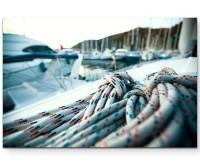Großaufnahme Seil auf Yacht - Leinwandbild