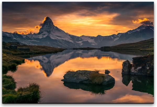 Sonnenuntergang über dem Matterhorn Wandbild in verschiedenen Größen