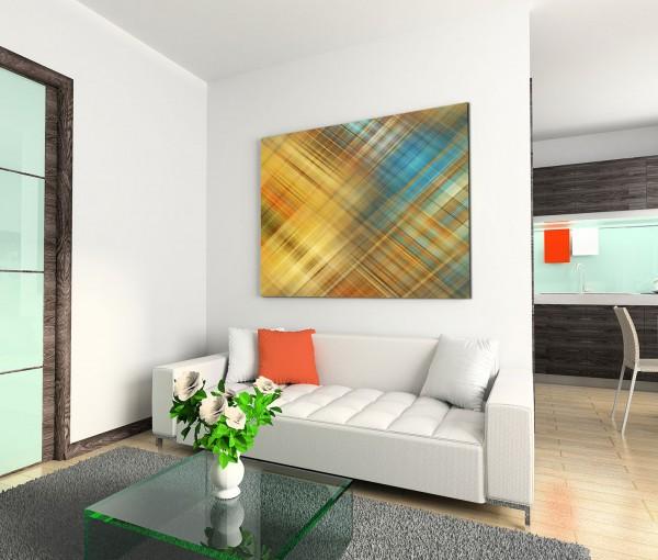 120x80cm Wandbild Hintergrund kariert abstrakt braun blau orange gelb