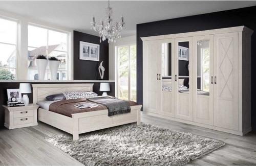 Schlafzimmer Kashmir in Pinie Weiß von Forte Megaset mit Drehtürenschrank, Doppelbett, zwei Nachttis
