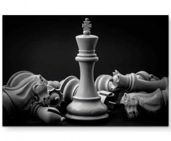 Schwarz/weiß – Schachfiguren - Leinwandbild