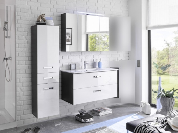 badezimmer grey hochglanz 3 teilig m bel. Black Bedroom Furniture Sets. Home Design Ideas