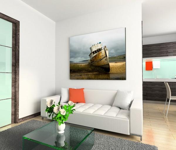 120x80cm Wandbild Meer Dünen Fischerboot