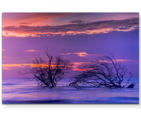 Dämmerung - toter Baum im Wasser - Leinwandbild
