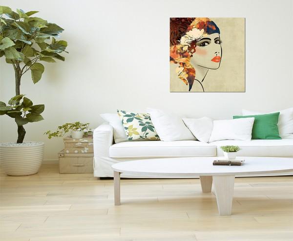 80x80cm Malerei Kunstwerk Mädchen Gesicht abstrakt
