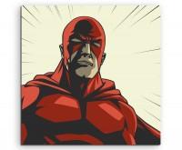 Superheld mit roter Maske im Comic Stil auf Leinwand