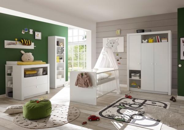 Babyzimmer Landhaus in Weiß 8 teiliges Megaset mit Schrank, Bett mit Lattenrost und Umbauseiten, Wic